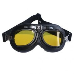 Black Aviator Goggles With Yellow Lenses