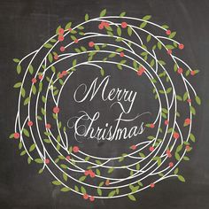 """Large square chalkboard hand lettered artwork with text inside a delicate holly berry wreath - """"Christmas Chalk III"""" wall art by Erin Clark from Great BIG Canvas Chalkboard Art Quotes, Chalkboard Lettering, Chalkboard Designs, Chalkboard Doodles, Chalkboard Calendar, Christmas Chalkboard Art, Christmas Wall Art Canvas, Halloween Chalkboard Art, Christmas Artwork"""