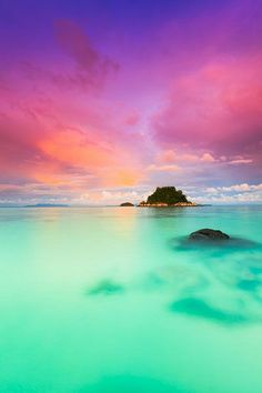 Sunset on Ko Lipe, a small island surrounded by the Andaman Sea and located near the Tarutao National Park in southwest Thailand.