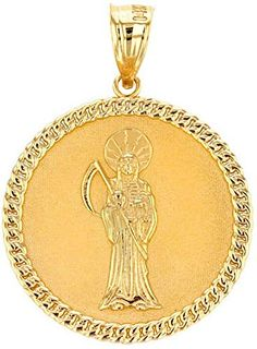 FB Jewels 14k White Gold 23x16mm Hollow Miraculous Medal