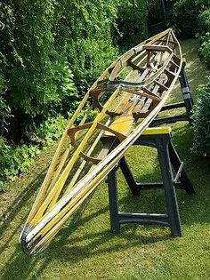 Vintage Wooden 2 man Kayak Canoe River Ouse  display or restoration project 14ft