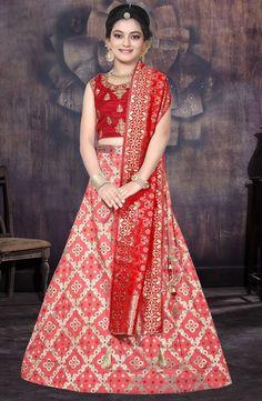 c96be9609e Red Banarasi Silk Party Wear Embroidery Work Girls Lehenga Choli - Kesari  Exports Product Code :