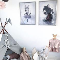 Good morning Saturday!! Kickstarting the weekend with the perfect girls play space featuring our beautiful Miss Klara and Miss Astrid prints. You can shop the remainder of our magical Miss Mighetto limited edition prints now at the link in our bio.  Room inspo @nadjaaleth
