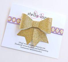 Gold Glitter Bow with Purple Aztec Tribal Headband - baby girl headband - toddler headband - spring headband - YOU CHOOSE bow style