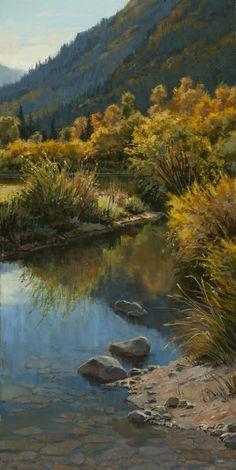 Darcie Peet ~ Autumn Reflections~Oil On Canvas,24 x 12