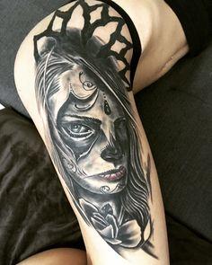 muerte tattoo leg tattoo