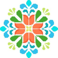 Retro flower mandala  Modern folk crossstitch #etsyspecialT #integrityTT @crossstitchtheline