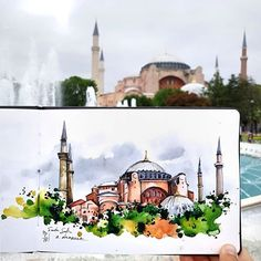 Swipe to see my step by step process! ❤Thanks for your tips about Istanbul!❤ I took notes of everything! Voyage Sketchbook, Travel Sketchbook, Art Sketchbook, Watercolor Sketch, Watercolor Illustration, Watercolor Paintings, Architecture Concept Drawings, Watercolor Architecture, Still Life Drawing