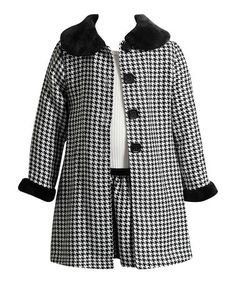 Another great find on #zulily! Black Houndstooth Pea Coat & Dress - Infant, Toddler & Girls #zulilyfinds