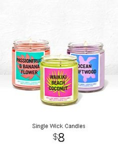 $8 Single Wick Candles Candle Jars, Candles, Bath And Body Works, Wicked, Dining, Food, Candy, Candle Sticks, Candle