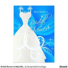 #Bridal #Shower in Baby Blue Satin 5x7 Paper #Invitations Card #bridalshower
