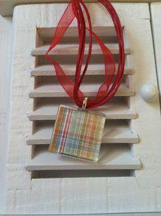 Multi-Colored Plaid Glass Tile Necklace