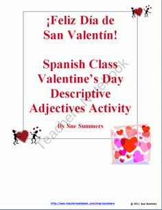 Spanish Valentine's Day Descriptive Adjectives Reference & Activity product from Sue-Summers on TeachersNotebook.com