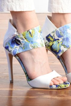Iris Print Ankle Wrap Stiletto Sandal #ankle #blue #fabric #floral #sandal #shoes #spring #stiletto #strap #summer #white #women #womens #zip