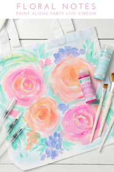 Learn how to use watercolor craft paint to create a beautiful tote in this special edition of #PaintWithPlaid featuring Martha Stewart Soft Gel Watercolor Paint and Martha Stewart Wine Co. just in time for spring. Invite friends to make it the ultimate night in or give yourself a chance to nourish your own soul with a creative escape! Make Your Own Wine, Make It Yourself, Diy And Crafts, Arts And Crafts, Sewing Projects, Projects To Try, Martha Stewart Crafts, Craft Paint, Color Crafts