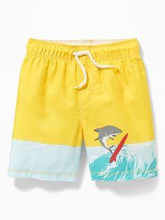 Old Navy Toddlers' Functional Drawstring Printed Swim Trunks Yellow Size Boys Summer Outfits, Summer Boy, Toddler Boy Outfits, Toddler Boys, Kids Swim Shorts, Boys Cargo Shorts, Boys Pants, T Shirt Photo Printing, Boys Swimwear