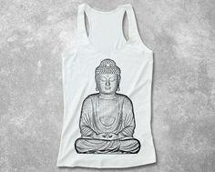 Womens Buddha Yoga Fitted Tank Top racerback women soft rayon hand screenprint art graphic design top