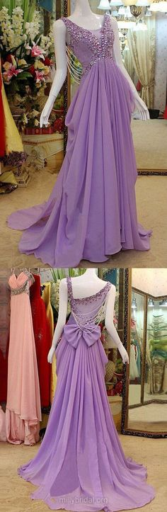 Purple Prom Dresses Long, 2018 Party Dresses A-line, Scoop Neck Tulle Formal Evening Dresses Chiffon, Beading Pageant Dresses Modest