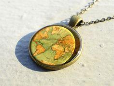 vintage World map necklace pendants, world map pendant charm, map jewelry charm, resin pendants- M8004CP