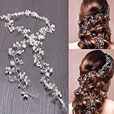 WOWOSS Crystals Hairband Wedding Rhinestones Hair Vine Wedding Hair accessories for the bride Hair Vine and Headpiece Accessories for female girls Wedding Headband, Bridal Hair Vine, Updo, Female Girl, Wedding Hair Pieces, Wedding Hair Accessories, Bride Hairstyles, Bridal Headpieces, Makeup