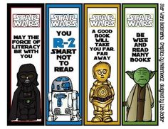 Calling all Star Wars Fans - These Star Wars Bookmarks feature Melonheadz cute graphics and are absolutely adorable. No need to go to the teacher . Star Wars Classroom, Classroom Themes, Classroom Posters, Theme Star Wars, Star Wars Party, Anniversaire Star Wars, Star Wars Crafts, Library Lessons, Library Ideas