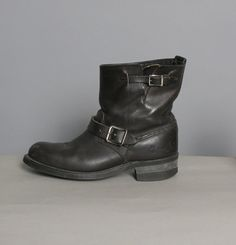 Black leather FRYE motorcycle engineer boots