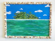 Acrylic painting on Shell Frame - Sea Shell Island - www.harrisartstudio.com