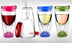 Chill your wine in the actual cup while you are sipping!  It will keep your wine at the perfect temperature even on a hot sunny day. Perfect for all occasions… ICE VINO 2 GO    - IV2G Great for back yard, balcony, porch, BBQ , poolside, tailgate parties, casual Entertaining… outdoor use.
