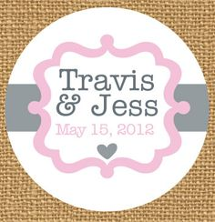 2 Custom Wedding Stickers Brown Kraft Name Date Labels