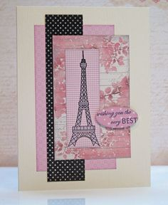 1- Card created by Jean Okimoto; using the Bubblegum Moroccan patterned paper with the Licorice Distressed Dots - plus a swatch of Bubblegum Gingham to stamp the tower on.