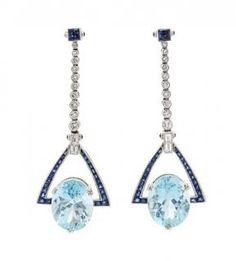 A Pair of Platinum, Aquamarine, Diamond and Sapphire Pendant Earrings, 10.10 dwts.