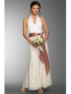 Robe de mariée dentelle en dentelle avec bretelles au cou o...