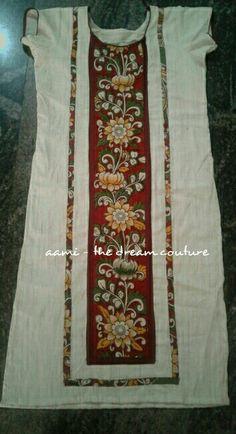 Salwar Neck Designs, Churidar Designs, Kurta Neck Design, Dress Neck Designs, Designs For Dresses, Blouse Designs, Kalamkari Kurta, Kalamkari Dresses, Designer Punjabi Suits Patiala