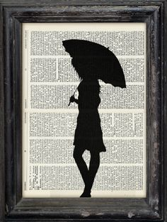 Print Art Ink Drawing Girl With Umbrella Illustration by rcolo, $10.00