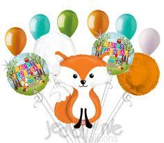 Woodland Fox Happy Birthday Animal Balloon Bouquet