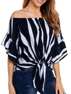 #GraceQ #BerryLook - #berrylook Open Shoulder  Lace Up  Striped Blouses - GraceQ.com