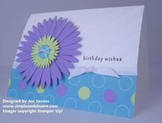 Stampin Up Birthday Wishes Daisy Scored