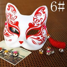 Half Face Japanese Style Hand-painted Fox Halloween Costume Carnival Party Mask #NewBrand