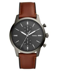 Fossil Men& Townsman Chronograph Amber Leather Watch - Brown N/A G Shock Watches Mens, Mens Watches Leather, Watches For Men Unique, Cool Watches, Men's Watches, Fossil Watches For Men, Stylish Watches, Luxury Watches, Shopping