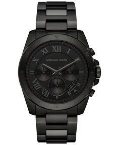 Michael Kors Men's Chronograph Brecken Black Ion-Plated Stainless Steel Bracelet Watch 44mm MK8482