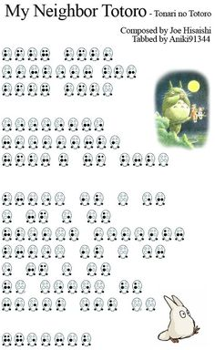 6 hole ocarina tabs for Tonari no Totoro. Ocarina Tabs, Ocarina Music, Piano Music, Sheet Music, Music Sheets, Piano Sheet, Ocarina Instrument, Joe Hisaishi, Ai No Kusabi