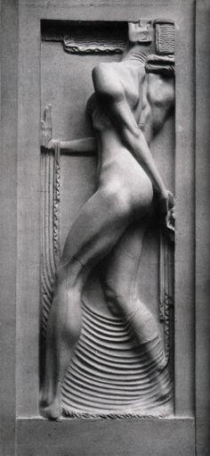 Art Deco; Franz Metzner - relief on facade of Weinhaus Rheingold, Berlin, Germany, 1907.