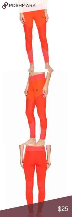 Adidas WOW tights Orange/Red/Pink tights in a medium. Used once. Like new. Cute mesh and cut out detail design. No trades Adidas Pants Leggings