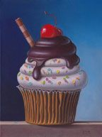 Confetti Cupcake by George Gonzalez Cupcake Painting, Cupcake Drawing, Cupcake Art, Food Painting, Cupcake Clipart, Cartoon Cupcakes, Merry Christmas Dog, Confetti Cupcakes, Cake Wallpaper
