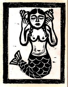 mermaid listening Linocut Siren Mermaid, Mermaid Art, Mermaid Illustration, Illustration Art, Linocut Prints, Art Prints, Vintage Mermaid, Mermaids And Mermen, Merfolk