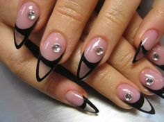 Unique Clear Acrylic Pointy Nail Design. Something to consider for Halloween minus the diamonds.