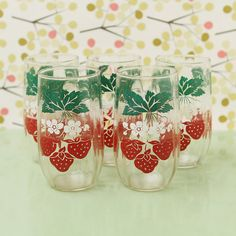 old drinking glasses | Vintage Strawberry Glasses, Drinking, Juice, Tumbler