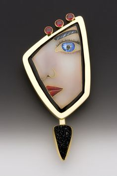 Face - Enamel, 18k, 22k, & 24k Gold, Fine Silver with 3 Red Sapphires | One-of-a-kind avail 'AnnataiEnamels' ♥≻★≺♥