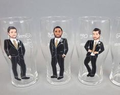 Items similar to Gift for groomsmen Hand painted bachelor party Personalized Beer glasses Customized - Personalized Caricatures on Etsy Best Groomsmen Gifts, Groomsman Gifts, Bridesmaid Glasses, Bridesmaid Gifts, Personalized Beer Glasses, Bachelorette Sash, Bridesmaids And Groomsmen, Bridal Shower Party, On Your Wedding Day