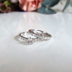 Cathedral sidestones combined with a half eternity band white gold Classic Collection, Eternity Bands, Bridal Jewelry, Cathedral, Silver Rings, White Gold, Wedding Rings, Engagement Rings, Jewellery